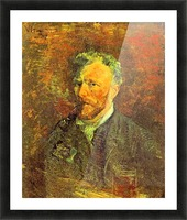 Self-portrait, with pipe, at a table by Van Gogh Picture Frame print