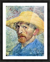 Self-portrait, with straw hat and blue shirt by Van Gogh Picture Frame print