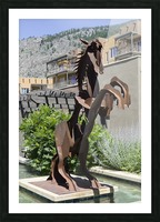 Metal Horse sculpture Picture Frame print