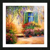 Blooming summer patio Picture Frame print