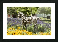 Odyssey the horse and Hope the Colt sculptures made of driftwood by Heather Jansch. 2 Picture Frame print