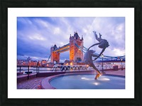 LON 014 Girl with  Dolphin and Tower Bridge Picture Frame print