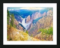 Yellowstone Falls Digital Painting Landscape 52 70 200px Picture Frame print