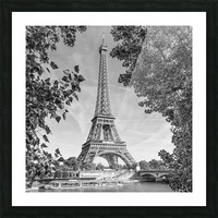 PARIS Eiffel Tower & River Seine   Monochrome Picture Frame print