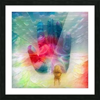 Astronaut Before Human Palm Picture Frame print