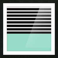 Black & White Stripes with Aquamarine Patch Picture Frame print