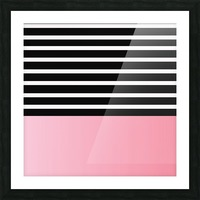 Black & White Stripes with Pink Gradient Patch Picture Frame print