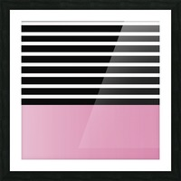 Black & White Stripes with Baby Pink Patch Picture Frame print