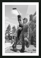 The winning goal in the 72 Canada Russia Hockey series b&w Picture Frame print