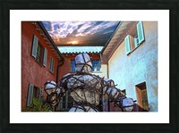 Stone Man in Courtyard Picture Frame print