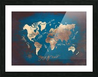 world map text blue gold Picture Frame print