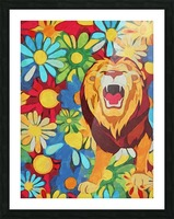 Lion and Flowers Fantasy  Picture Frame print