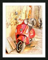 The Red Vespa Picture Frame print