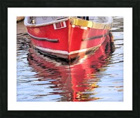 Red skiff reflections Picture Frame print
