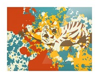 Little Tiger Abstract  Picture Frame print
