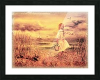 Vintage Watercolor Painting Girl And Ocean Picture Frame print