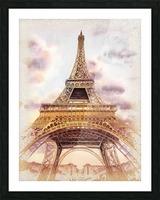 Vintage Paris Eiffel Tower Watercolor Painting Picture Frame print
