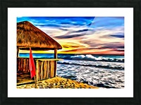 Beach Hut and Stormy Sea in Oil Picture Frame print