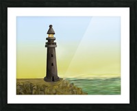 Sunset with Lighthouse Picture Frame print