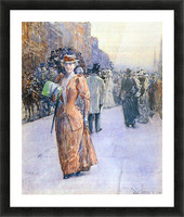 New York street scene by Hassam Picture Frame print
