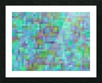 geometric square pixel pattern abstract in green blue pink Picture Frame print