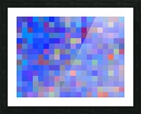 geometric square pixel pattern abstract in blue and pink Picture Frame print