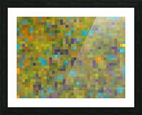 geometric square pixel pattern abstract in green yellow blue purple Picture Frame print