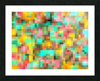 geometric square pixel pattern abstract in green yellow pink Picture Frame print