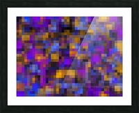 geometric square pixel pattern abstract background in blue purple yellow Picture Frame print