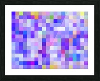 geometric square pixel pattern abstract background in blue pink purple Picture Frame print