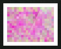 geometric square pixel pattern abstract background in pink blue green Picture Frame print