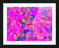 geometric square pixel pattern abstract background in pink blue yellow Picture Frame print