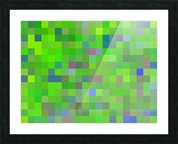 geometric square pixel pattern abstract background in green blue pink Picture Frame print