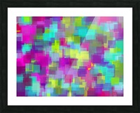 geometric square pattern abstract background in pink yellow blue Picture Frame print