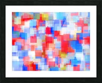 geometric square pattern abstract background in red and blue Picture Frame print