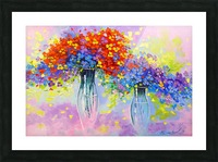 Music of multi-colored flowers Picture Frame print