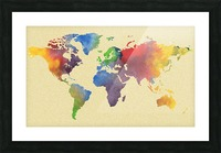 Hot And Vivid Watercolor Map Of The World Picture Frame print