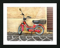 Red Piaggio Moped Picture Frame print