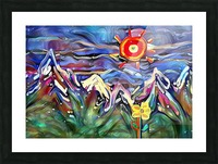 Mountain Landscape with Flowers Picture Frame print