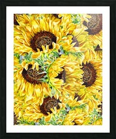 The Filed Of Watercolor Sunflowers Pattern Picture Frame print