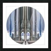 New York vue du pont de Brooklyn - rond Picture Frame print