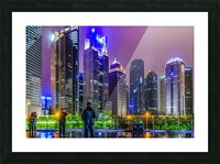 Lujiazui District Nigth Scene, Shanghai, China Picture Frame print