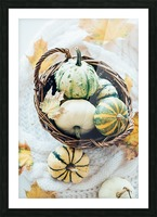 Autumn pumpkins in a basket Picture Frame print
