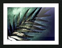 GREEN METALLIC PALM TREE LEAF TROPICAL DESIGN Picture Frame print