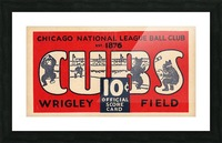 1929 Chicago Cubs score card Picture Frame print