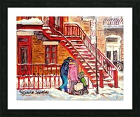 MONTREAL PAINTING OF WINTER SCENE COUPLE NEAR SPIRAL STAIRCASE  Picture Frame print