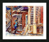 MONTREAL PAINTING PLATEAU MONT ROYAL WINTER SCENE GIRL WALKING OUTDOOR STAIRS Picture Frame print