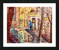 MAILMAN WALKING UP SPIRAL STAIRCASE PLATEAU MONT ROYAL MONTREAL STREET SCENE Picture Frame print