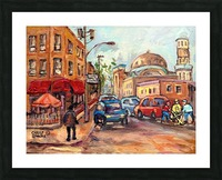 RUE ST VIATEUR NEAR CLARK MONTREAL PAINTING WINTER SCENE WITH HOCKEY Picture Frame print