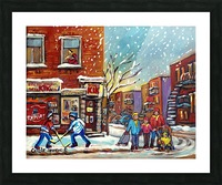 FAMILY AT DEPANNEUR SNOWY MONTREAL WINTER SCENE  Picture Frame print